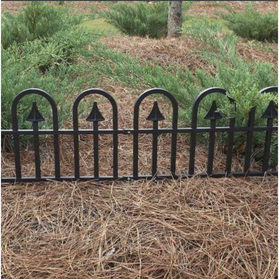GARDEN LINE kerti műanyag kerítés szett 60 x 30,5 cm 4 db - fekete