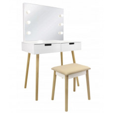 Inlea4Fun Tükrös fiókos fésülködő asztal LED világítással és székkel Előnézet
