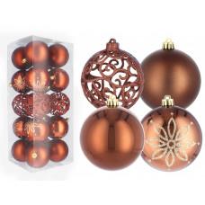 Inlea4Fun Karácsonyfa dísz szett 20 darab gömb 8 cm - Bronz/barna Előnézet