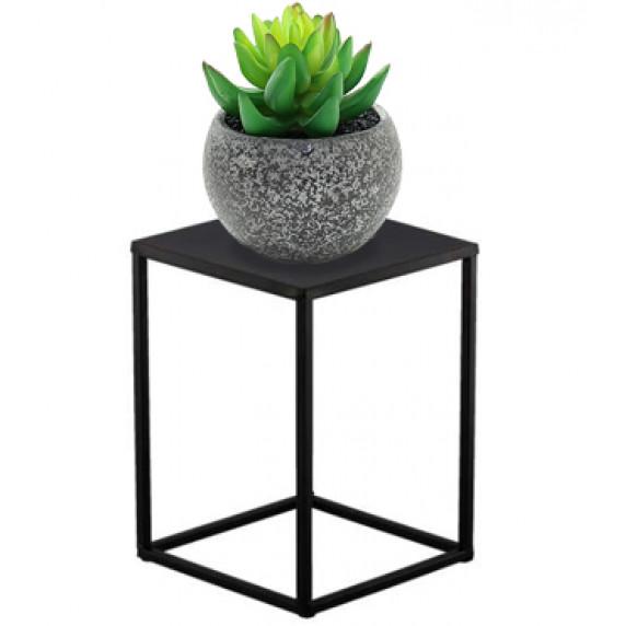 Fém virágállvány 22x22x30 cm Inlea4Home 9275  - fekete