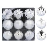 Inlea4Fun Karácsonyfa dísz szett 9 darab gömb 6 cm - Ezüst