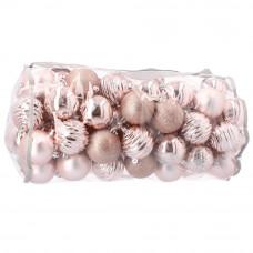 Inlea4Fun karácsonyi gömbök 80 db - rózsaszín Előnézet