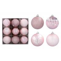 Karácsonyfa dísz szett 9 darab gömb 8 cm  - Rózsaszín