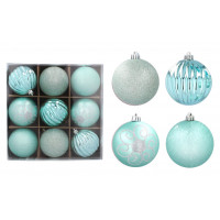 Karácsonyfa dísz szett 9 darab gömb 8 cm Inlea4Fun - Menta