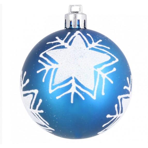 Inlea4Fun Karácsonyfa dísz szett 8 darab gömb 6 cm - Kék/Csillag