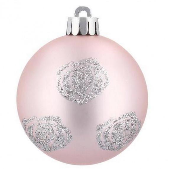 Inlea4Fun Karácsonyfa dísz szett 80 darab gömb - Rózsaszín