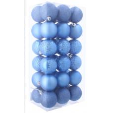 Karácsonyfa dísz szett 36 darab gömb 6 cm Inlea4Fun - Kék Előnézet