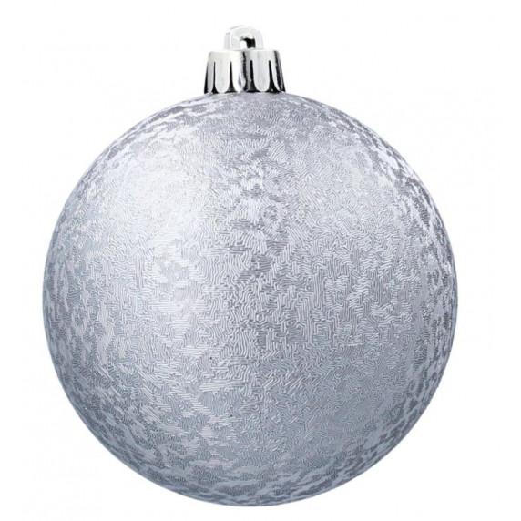 Inlea4Fun Karácsonyfa dísz szett 24 darab gömb 8 cm - ezüst