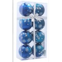 Inlea4Fun Karácsonyfa dísz szett 8 darab gömb 6 cm - Kék/Karácsonyi nyalóka