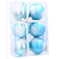 Karácsonyfa dísz szett 6 darab gömb 7 cm Inlea4Fun - Kék/Csillag