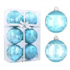 Karácsonyfa dísz szett 6 darab gömb 8 cm Inlea4Fun - Kék/fenyőfa-csillag Előnézet