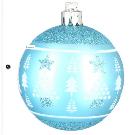 Karácsonyfa dísz szett 6 darab gömb 8 cm Inlea4Fun - Kék/fenyőfa-csillag