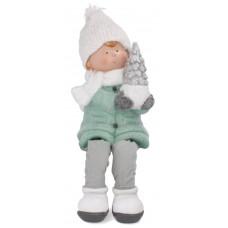 Inlea4Fun fenyőfát tartó kisfiú figura - 28cm Előnézet