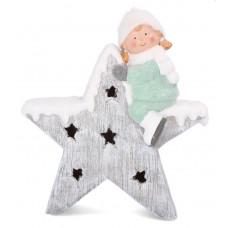 Inlea4Fun kislány csillaggal karácsonyi LED figura - 39 cm Előnézet
