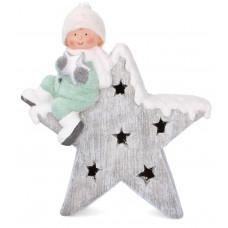 Inlea4Fun kisfiú csillaggal karácsonyi LED figura - 39 cm Előnézet