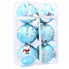 Inlea4Fun Karácsonyfa dísz szett 6 darab gömb 7 cm - Kék/Mikulás Előnézet