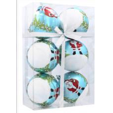 Inlea4Fun Karácsonyfa dísz szett 6 darab gömb 8 cm - Fehér-Kék/Mikulás