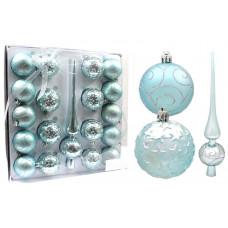 Inlea4Fun Karácsonyfa dísz szett 18 darab gömb 6 cm + csúcs - Kék Előnézet
