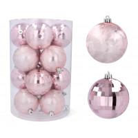 Karácsonyfa dísz szett 16 darab gömb 8 cm Inlea4Fun - Rózsaszín