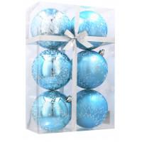 Karácsonyfa dísz szett 6 darab gömb 8 cm Inlea4Fun  - Fehér-Kék/Hópehely