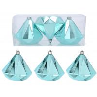 Karácsonyfa dísz szett 3 darab gyémánt alakú dísz 10 cm Inlea4Fun - Menta
