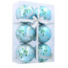 Inlea4Fun Karácsonyfa dísz szett 6 darab gömb 8 cm - Kék/Fenyőág