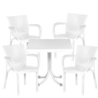 Rattan kerti bútor garnitúra 1 asztallal és 4 székkel InGarden - Fehér