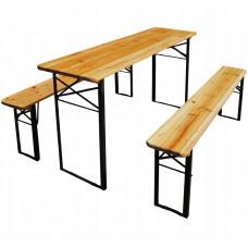 InGarden Összecsukható asztal + 2db sörpad - 177 cm Előnézet