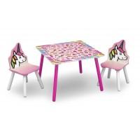 Gyerekasztal székekkel - unikornis