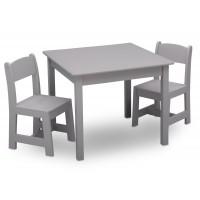 Gyerekasztal székekkel - szürke