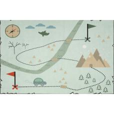 Treasure map térképes szőnyeg 140 x 190 cm - menta Előnézet