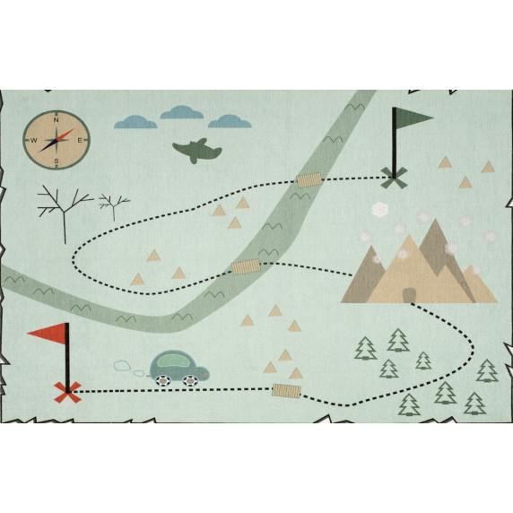 Treasure map térképes szőnyeg 140 x 190 cm - menta