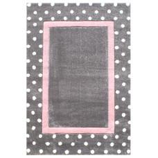 DOTS pöttyös szőnyeg 120 x 180 cm - szürke/rózsaszín Előnézet