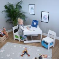 OURBABY gyerekasztal székkel tárolóval - kék