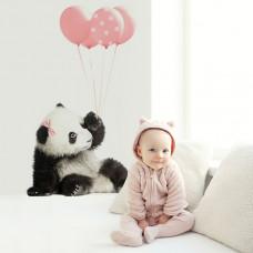 DEKORNIK Pandamackó rózsaszín lufikkal falmatrica Előnézet