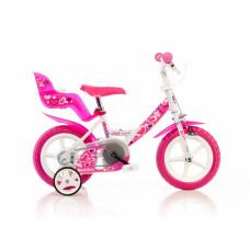 """DINO BIKES 12"""" gyerek bicikli - fehér/rózsaszín Előnézet"""