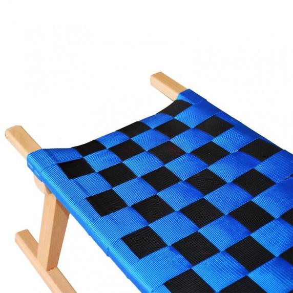 ACRA gyerek fa szánkó kos szarv formájú kapaszkodóval 110 cm - kék