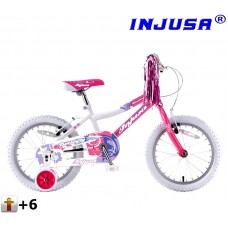 "INJUSA Butterfly Pink kerékpár 16"" Előnézet"