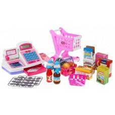 Inlea4Fun Cash Shop - Bevásárlókosár pénztárgéppel Pink Előnézet