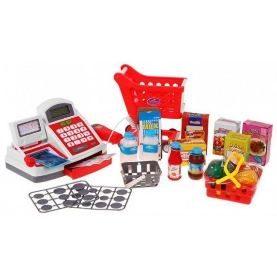 Inlea4Fun Cash Shop Bevásárlókosár pénztárgéppel - Piros