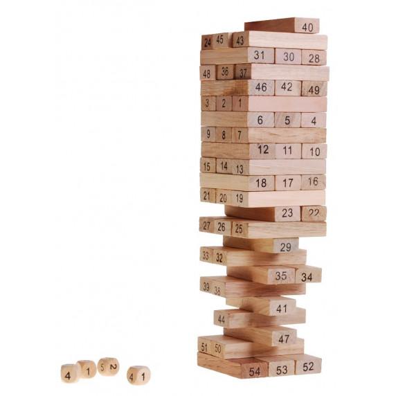 Inlea4Fun Wood Toys Jenga fa torony társasjáték