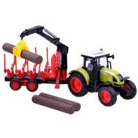 Inlea4Fun FARMLAND Faszállító játék traktor utánfutóval és farönkökkel