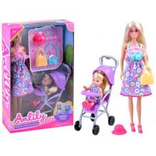 Játékbaba kisbabával és babakocsival Inlea4Fun ANLILY