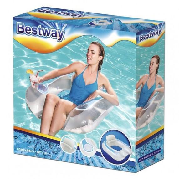 BESTWAY 43097 Italtartós felfújható úszófotel 102x94 cm - Fehér