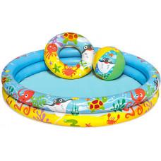 BESTWAY 51124 Felfújható halacskás gyerek medence szett 122 cm Előnézet