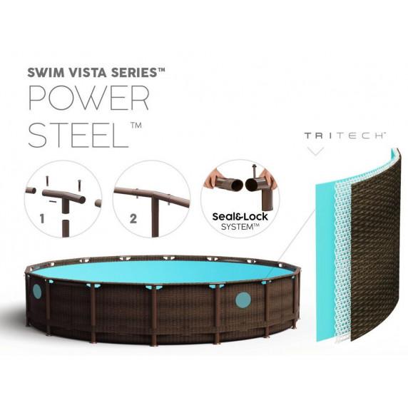 BESTWAY 56725 Power Steel rattan fémvázas medence 488x122 cm vízforgatóval és létrával