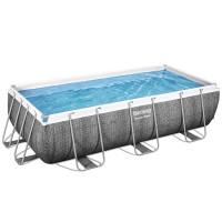 Rattan hatású fémvázas medence papírszűrős vízforgatóval Bestway Power Steel 404x201x100 cm