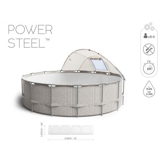 Rattanhatású medence papírszűrős vízforgatóval 396x107 cm BESTWAY 5614V Power Steel 396x107 cm