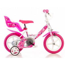 """DINO gyerek bicikli 12"""" - fehér/rózsaszín Előnézet"""