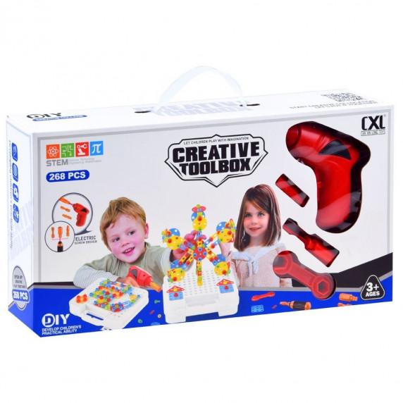 Csavarozós mozaik játékkészlet Inlea4Fun CREATIVE TOOLBOX - 268 darabos